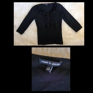 Black sweater by cable & gauge